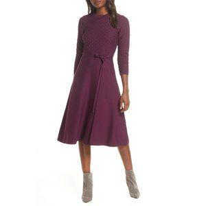 NWT Eliza J Fit & Flare Textured Midi Dress Wine S